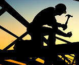 silhouette construction worker with hammer