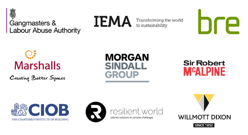 Construction protocol logos Gangmasters and Labour Abuse Authority, IEMA, bre, Marshalls, Morgan Sindall Group, McAlpines, CIOB, Resilient World, Willmott Dixon