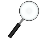 Magnifying glass white background
