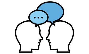 A drawing of two heads with speech bubbles